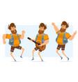 cartoon flat fat hipster man character set vector image vector image