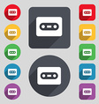 Cassette icon sign A set of 12 colored buttons and vector image