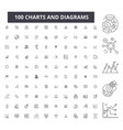 charts and diagrams editable line icons 100 vector image