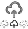 Cloud upload icon set - sketch line art vector image vector image