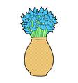 comic cartoon vase of flowers vector image vector image