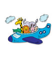 cute animals on a plane vector image