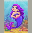cute cartoon little mermaid with purple hair vector image