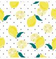 cute hand draw yellow lemon on dot background vector image