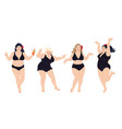 dancing plus size happy women in black swimming vector image