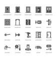 doors installation repair flat glyph icons vector image vector image