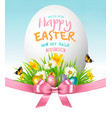 easter sale background colorful eggs in green vector image vector image