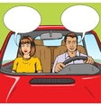 Family couple in car pop art style vector image vector image