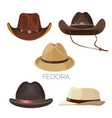 fedora and cowboy hats brown and beige colors vector image