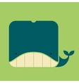 Flat square icon of a cute whale vector image vector image