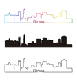 Genoa skyline linear style with rainbow vector image vector image