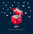 gift box and silver confetti red jewelry box on vector image