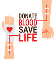 hand of blood donor with patient hand for world vector image