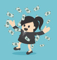 happy business woman money rain throwing money up vector image vector image