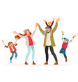happy family is jumping father mother daughter vector image vector image
