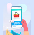 human hand using mobile app for ordering groceries vector image vector image