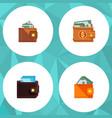 icon flat billfold set of money saving wallet vector image vector image