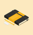 isometric notepad eraser and pencil vector image vector image