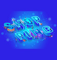 isometric word shopping on blue tech background vector image vector image