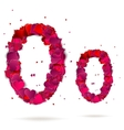 Letter o made from hearts Love alphabet vector image