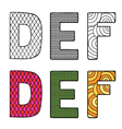 letters D E F vector image