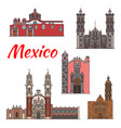 mexico landmarks architecture line icons vector image vector image
