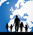 migration father with children map in background vector image