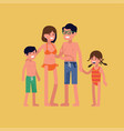 parents and young children standing isolated vector image