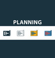 planning icon set four simple symbols in different vector image vector image