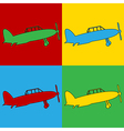 Pop art retro military airplane icons vector image vector image