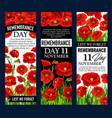 poppy flower banner for remembrance day design vector image vector image
