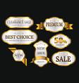 premium quality collection golden labels design vector image