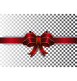 red ribbon with a bow on a transparent background vector image