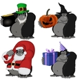 Set 4 funny gorilla vector image vector image