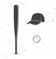 set baseball cap ball bat silhouette vector image