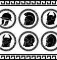 set of ancient helmets vector image