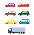 set of colorful car icon vector image vector image