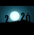silhouette numbers 2020 mountains with moon vector image vector image