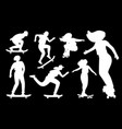 silhouettes on skateboard vector image vector image