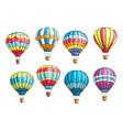 sketch icons set hot air balloons pattern vector image vector image