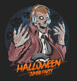 skull zombie dj music party halloween element vect vector image vector image
