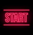 start lettering neon on a dark background vector image vector image