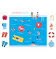 summer pool basin and icons vector image