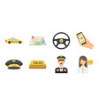 taxi service icons in set collection for design vector image vector image