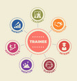 trainee concept with icons and signs vector image vector image