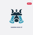two color samurai head japan icon from other vector image vector image