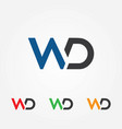 wd letters logo template vector image vector image