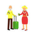 senior couple tourists traveling with suitcase vector image