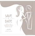 Wedding invitation card with groom and bride vector image