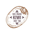 100 percent organic kiwi label with whole tropical vector image vector image